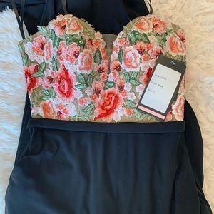 La Femme Floral Strapless Prom Gown Size 2
